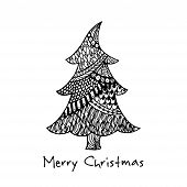 Greeting card with hand drawn Christmas tree