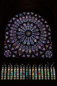 Round Stained Glass Window In The Notre Dame De Paris