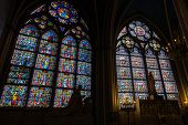 Colorful Stained Glass Windows In Notre Dame De Paris