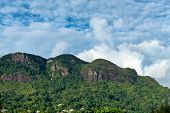 Natural View - Morne Seychellois National Park on a Cloudy Sky Background at Mahe, Seychelles.