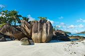 Scenic Beach with Unusual Rock Formations at Anse Lislette, Seychelles