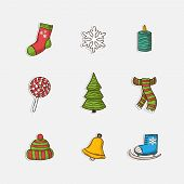 Vector Christmas set icons in doddle style