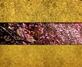 Cherry blossom and gold wall abstract background. Oriental cherry blossom background.