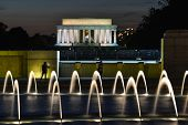 Washington DC - World War II and Lincoln Memorial at night