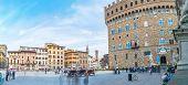 Piazza Della Signoria With Palazzo Vecchio In Florence, Italy