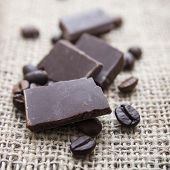 Close Up Of Chocolate And Coffee Beans