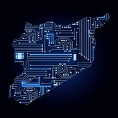 Map Of Syria With Electronic Circuit
