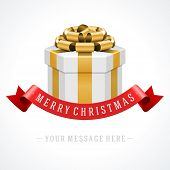 Open gift box with gold bow and ribbon vector background. Greeting card design and Merry christmas message.