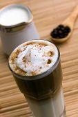 Latte Macchiato , a delicious italian  drink with milk and espresso