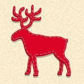 Needlecraft Reindeer, Christmas Card,  vector eps10 illustration