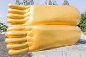 Feet (bottom) of reclining golden Buddha statue at Phuket, Thailand