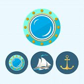 Set Icons With   Colored Sailing Vessel, Anchor , Porthole, Vector Illustration