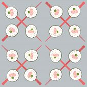 Sushi and chopstick seamless pattern
