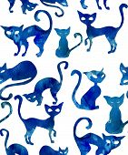 Seamless pattern with cats. Watercolor effect