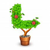 Isolated tree with flowers in clay pot. In the form of letter L