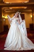 Young beautiful luxurious woman in wedding dress posing in luxurious interior