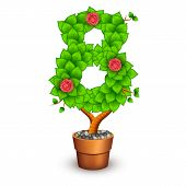 Isolated tree with flowers in clay pot. In the form of number 8