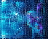 Abstract blue geometric background with glow