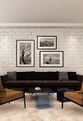 3D Rendering of Comfortable modern lounge or sitting room interior with metal frame armchairs, a sofa and art on a white painted brick wall