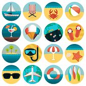 Set of flat summer rest icons combination. Traveling, tourism, vacation theme
