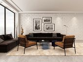 3D Rendering of Modern apartment living room interior with brown upholstered sofas and chairs, white painted brick wall and floor to ceiling panoramic windows , white painted ceiling with corner view
