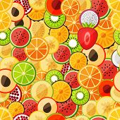 Seamless pattern chopped fruits