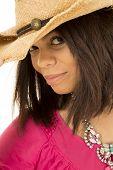 Hawaiian Woman Cowgirl Hat Closed Eyes Close