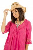 Hawaiian Woman  Pink Shirt Hand On Cowgirl Hat