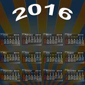 European Calendar Of 2016.