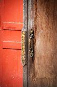 Close Up Handle Door Wood On Home