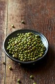 Mung beans on a ceramic plate