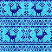 Cross stitch deer ornament Blue seamless background