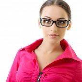 attractive business woman in glasses and pink shirt