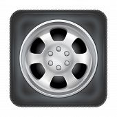 Icon of square car wheel on white background