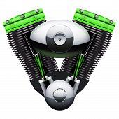 Bio green motorcycle motor engine.