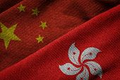 Flags Of China And Hong Kong On Grunge Texture