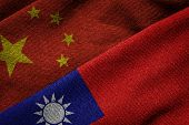 Flags Of China And Taiwan On Grunge Texture