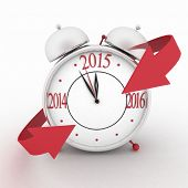 2015 year on alarm clock with red arrows. 3d isolated icon on white.