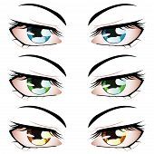 stock photo of manga  - Set of manga anime style eyes of different colors - JPG
