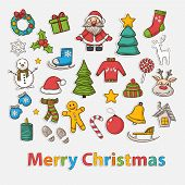 Vector Happy New Year and Merry Christmas set