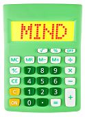 Calculator With Mind On Display Isolated