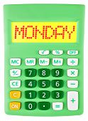 Calculator With Monday On Display Isolated