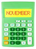 Calculator With November On Display Isolated