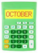 Calculator With October On Display Isolated