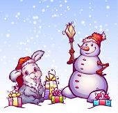 Vector illustration of hare and snowman