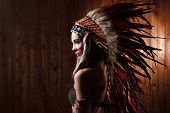 picture of indian  - Indian woman with traditional make up and headdress looking to the side - JPG