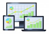 Business Graph On Monitor, Laptop And Tablet