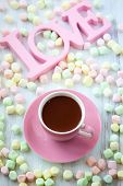 Hot chocolate and marshmallow in a cup for Valentine's day