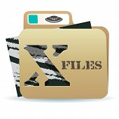 stock photo of x-files  - illustration of X files folder icon with inexplicable and mysterious material inside - JPG