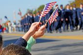 stock photo of parade  - Flags at Veteran - JPG